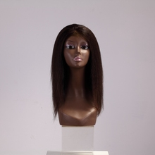 Huge stock straight shoulder length hair style kinky straight full lace wigs for black women