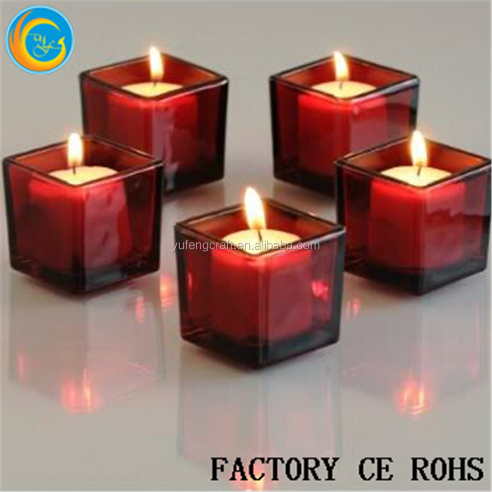 "Online /2"" Red Square Glass Votive Candle Holders/Glass Vase/Glass Talight For Wedding"