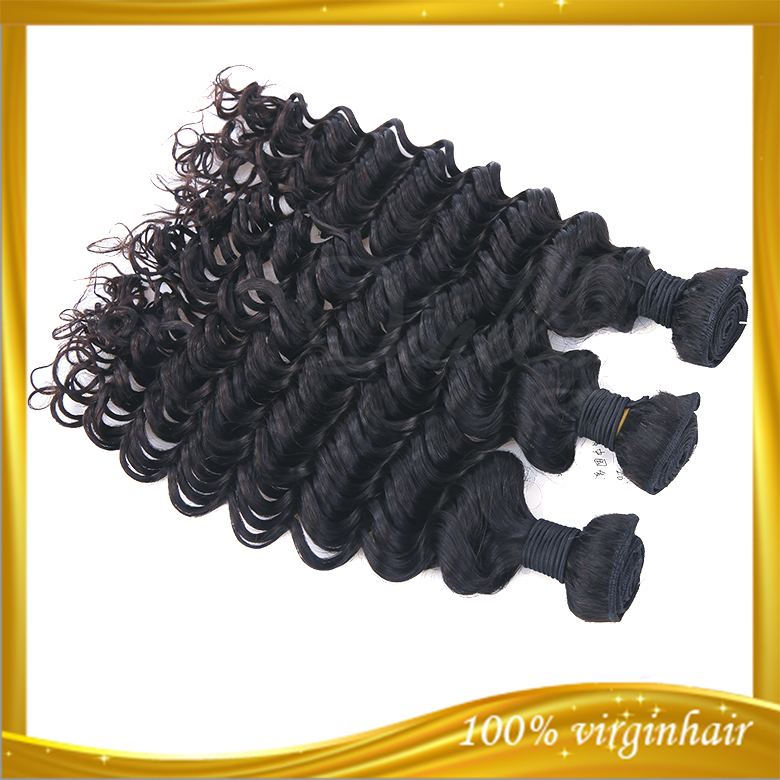 Hot selling 100% human hair hair extensions double drawn weft european deep wave remy hair weft
