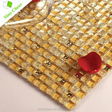 Yellow/Gold Crystal Glass Mirror Mosaic Tile for Wall