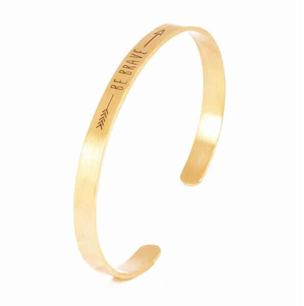 Inspirational Bangle Engraved Adjustable Arrow Gold Plated Be BRAVE Bangle Stainless Steel Inspirational Cuff Bracelet S3-0178