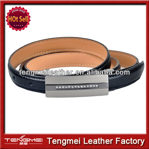 2014 best men's belts top soft genuine leather belt cowskin simple design high standard business belt Black