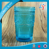 blue wine glass cup antique stemware cup glass color glass cup for decorative