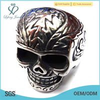 pirate skull ring,double skull ring,stretch skull ring