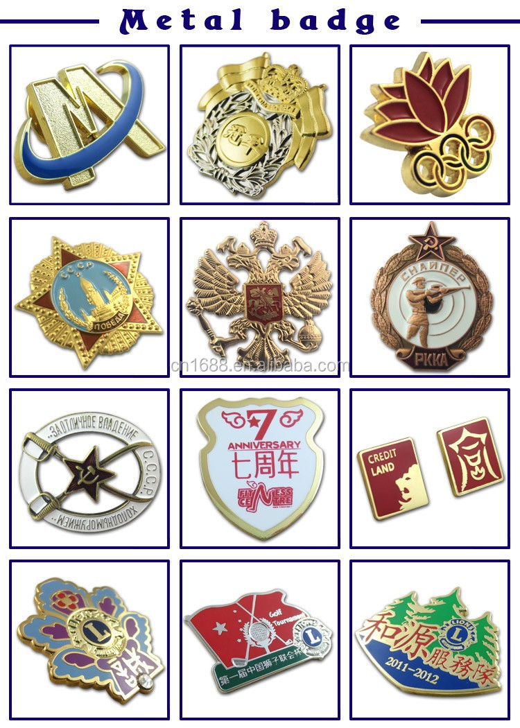 Souvenir Use and Metal Material Type lapel pins military badges with safety pins