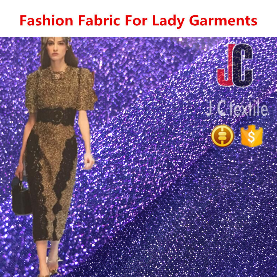 K12772 JC TEXTILE plain dyed polyester lurex fabric for lady garment