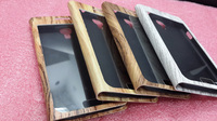 Wood phone stand Case,Wooden Case for S4 with touch screen,Stand Flip Leather Cover Wood Pattern Case for Samsung I9500