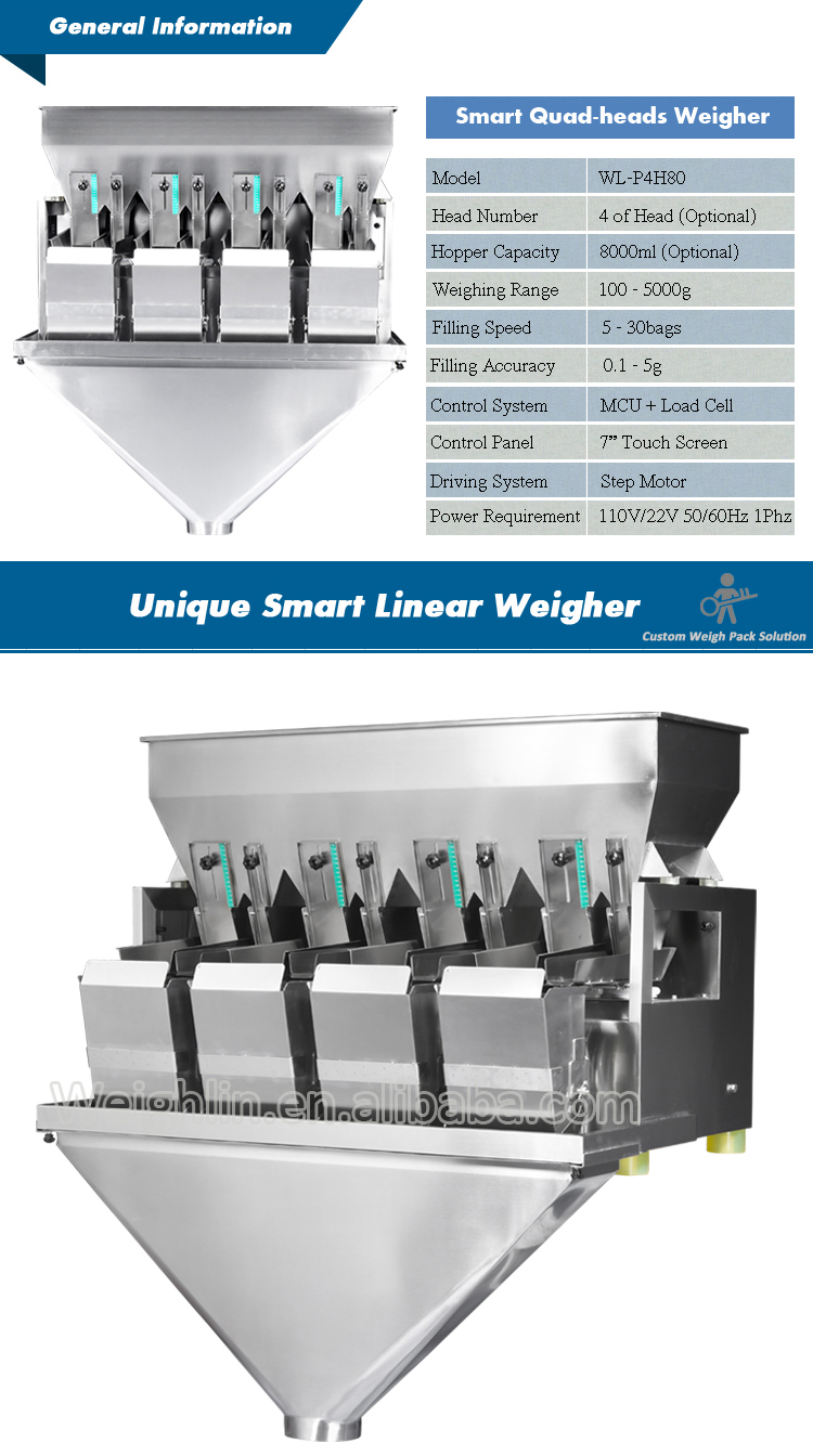 Smart filling machine with 4head linear weigher packing dried nuts snack foods almond pine nuts