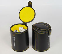 Good quality leather dice cup with lid