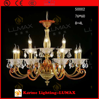 Karme Lumax promotional model #50002-8+4L pure copper yellow color sitting room crystal lamp