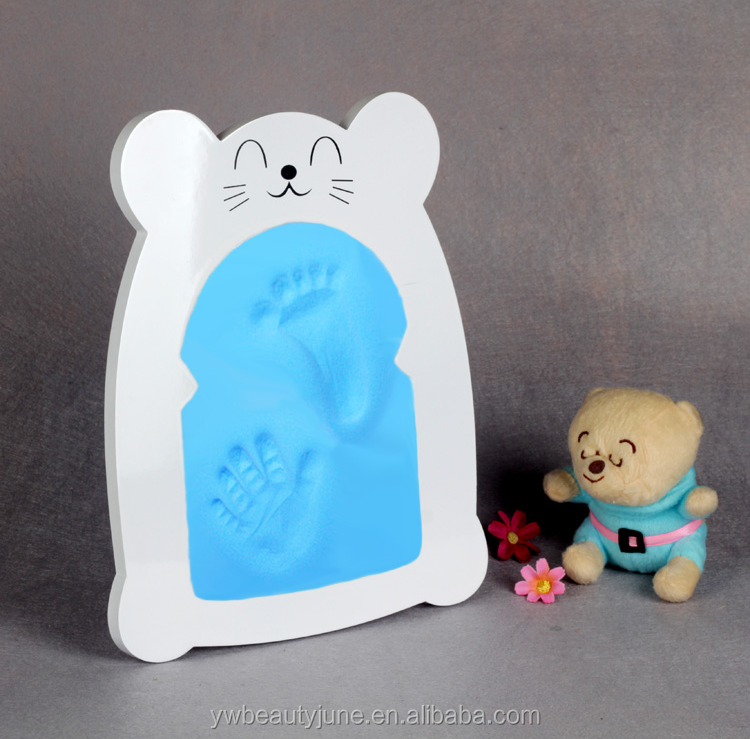 New Cute Baby Photo frame DIY handprint or footprint Soft Clay Safe Inkpad non toxic easy to use Free ship best gift for