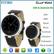 Leather + SOS/G-sensor bluetooth watch wrist mobile for Samsung Galaxy S8/S7 Edge Nokia Lumia HTC