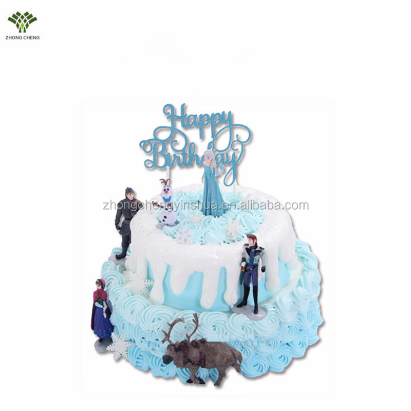 Elsa&Anna Cake Topper Snow Queen PVC Action Figure Cartoon Cake Picks Stand Plastic Birthday Cake Decoration