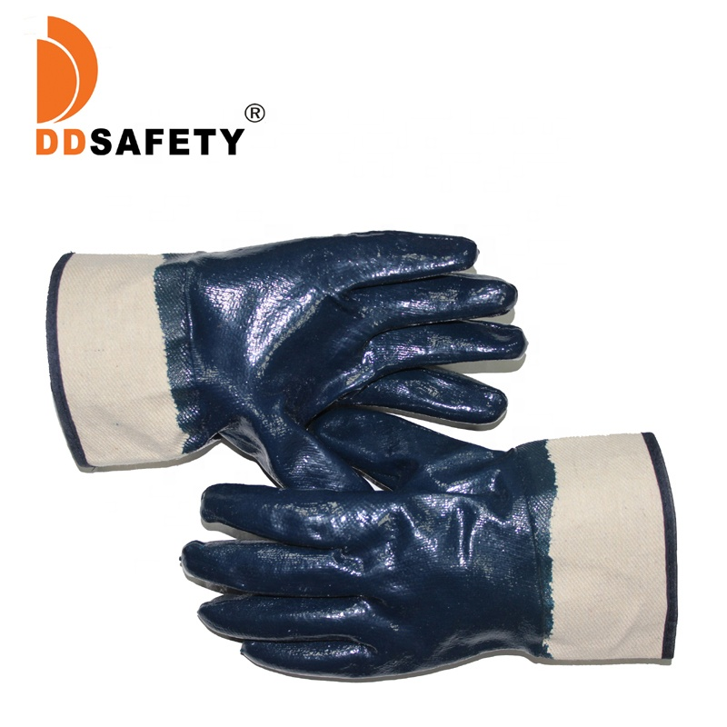 DDSAFETY 2018 Blue Nitrile Dipped Cotton Work <strong>Gloves</strong> With Oil Proof <strong>Glove</strong>