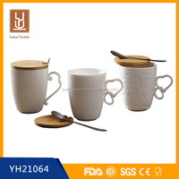 480ML new white ceramic mug with wooden lid and spoon