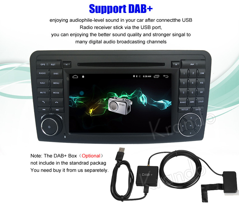 Krando Android 7.1 7'' car dvd radio audio for mercedes for benz ml w164 2005-2012 car gps multimedia player wifi 3G BT KD-MB164