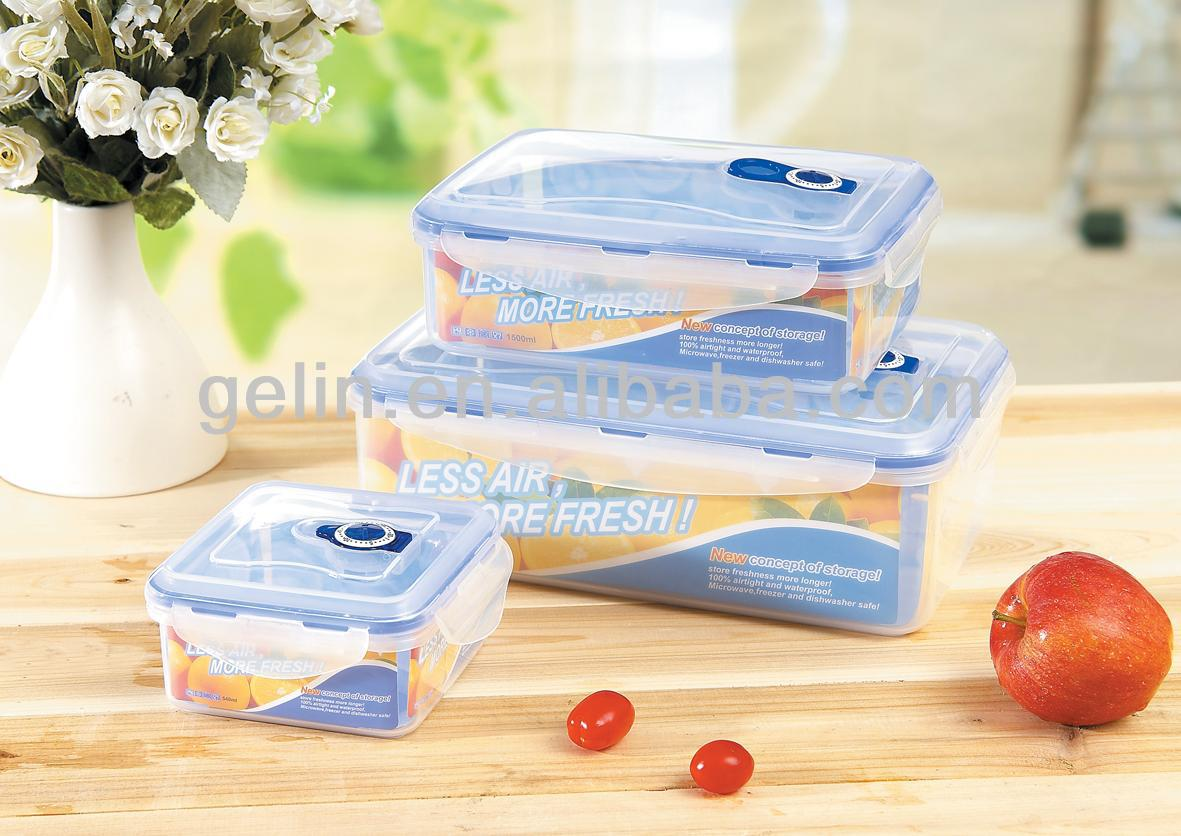 3pcs lunch box lock container with date indicator