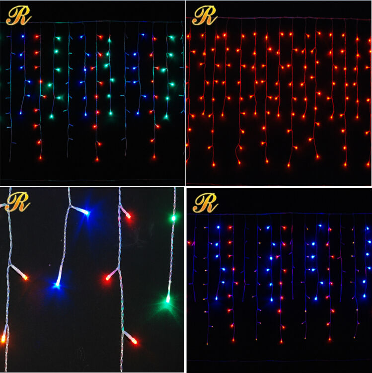 Outdoor LED Christmas lights on houses