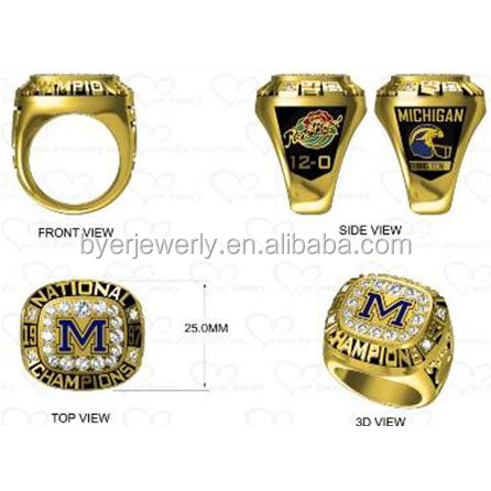 Wholesale champions manufacturers michigan football gold championship ring replica