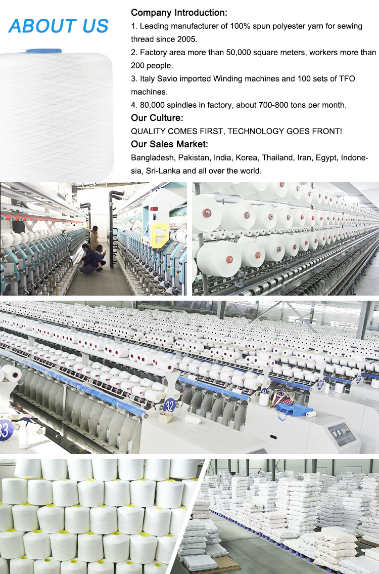 China 100 Spun Polyester Yarn Twisted Yarn Z for Sewing Thread