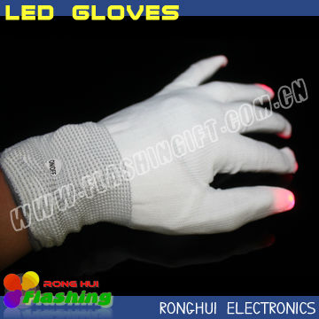 halloween party supplies 100% cotton fabric led gloves light