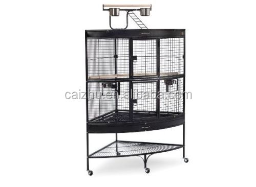 Parrot Corner Bird Cage Large Pet Living Space Saver Double Front Doors Black