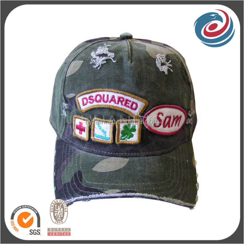 FLY-509 broken washed embroidery patch jean military hat
