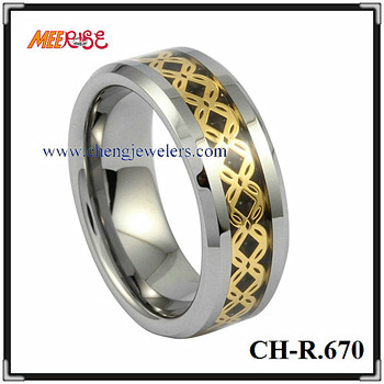 2017 18k gold strip four leaves clover tungsten ring for women and men