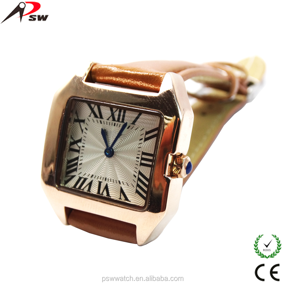 PU genuine band watch square shape IPG case dial watch lady vogue fashion watches 2013