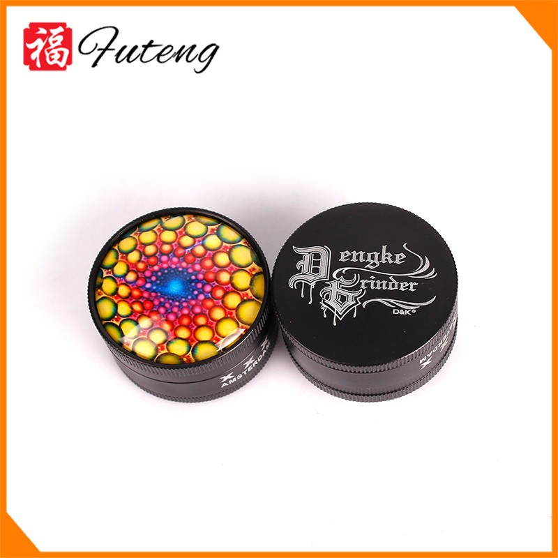FT-5074-3 Yiwu Futeng Zinc Tobacco Grinders Cool Pattern Herb Grinder Wholesale