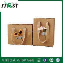 Luxury Recycled food grade top quality whosale exquisit kraft paper bag brown color with handle for gift and garment packaging
