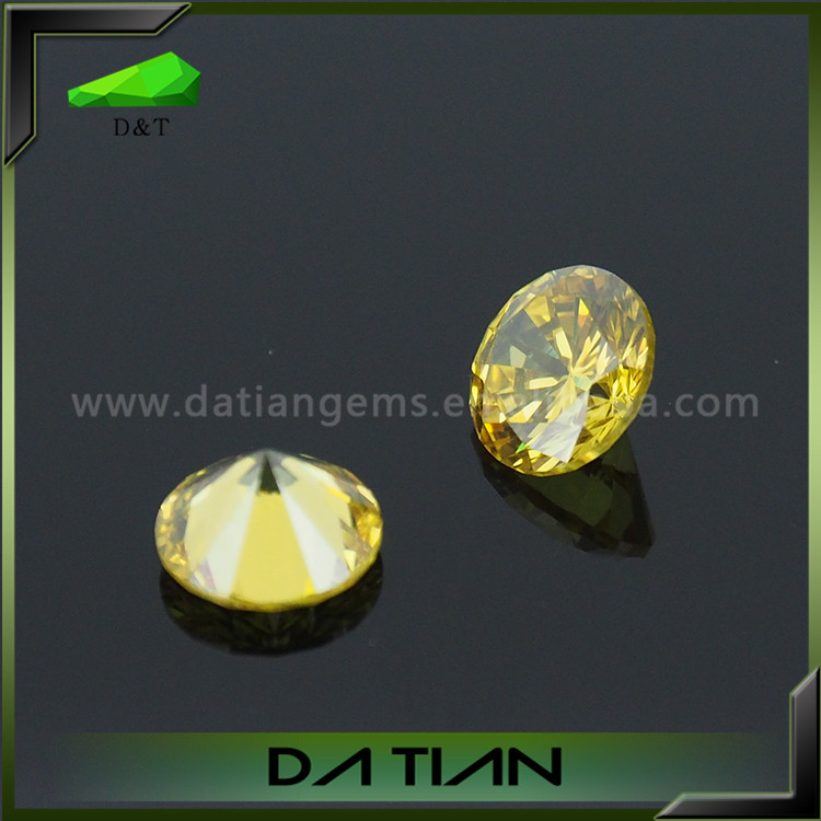 Loose synthetic stone yellow cz cubic zirconia stones wholesale