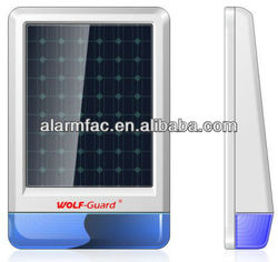 Outdoor waterproof strobe solar siren with long time backup battery