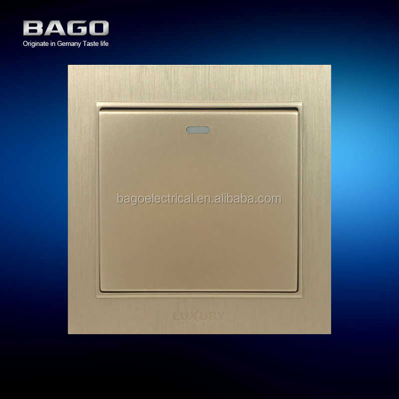 vertical golden PC brushed 1 gang 2 way light switch