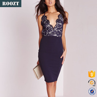 Fashion women sexy bare back party midi navy lace evening dress