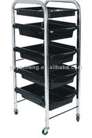 Metal and plastic four layer with hair dryer hood cheap professional salon stations