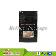 Custom Colored Small Clear Window Resealable Aluminum Foil Zip Lock Bag With Tear Notch