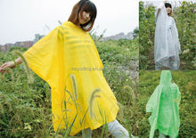 Customizable cheap adults long plastic square pvc poncho hooded yellow raincoat