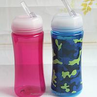350ml BPA free single wall custom sports kids water bottle with straws