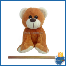 13cm Animal design sitting plush bear with silk ribbon