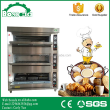 BOSSDA multifunctional industrial bread bakery 3decks 9trays gas oven price