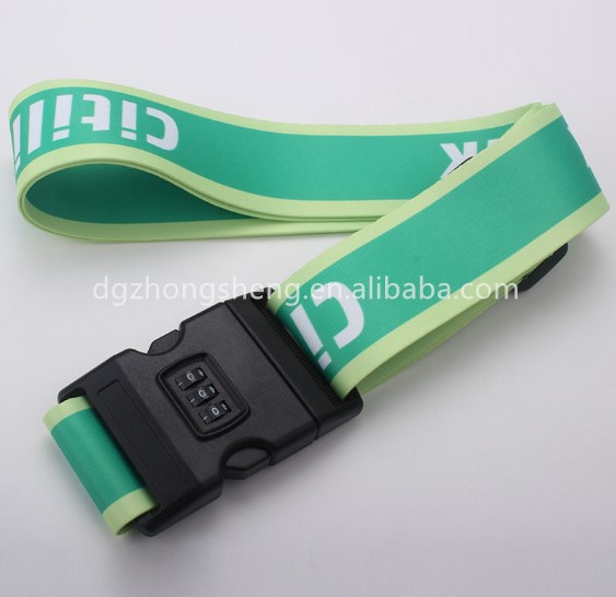 180 cm length adjustable travel polyester luggage strap , luggage scale belt with TSA lock
