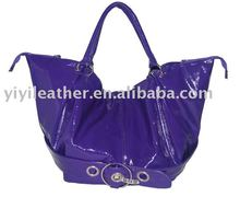 GU-211 ladies fashion designer high end petent leather tote bag branded hot sale wholesale