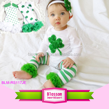 2017 latest shamrock embroidery designs st patrick's day outfit baby romper leg warmers and headband 3pcs baby romper gift set