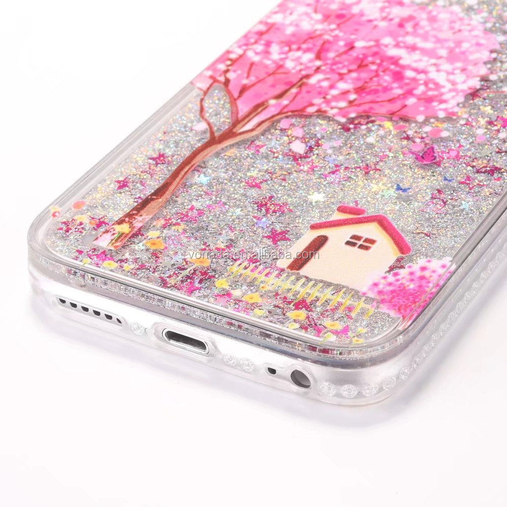 New Luxury Flowers Dynamic Liquid Quicksand Glitter Phone Case Cover For iPhone 6 6S 7 7 Plus