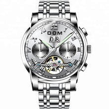 High quality Tourbillon mechanical watch with solid stainless steel band steel watch luminous