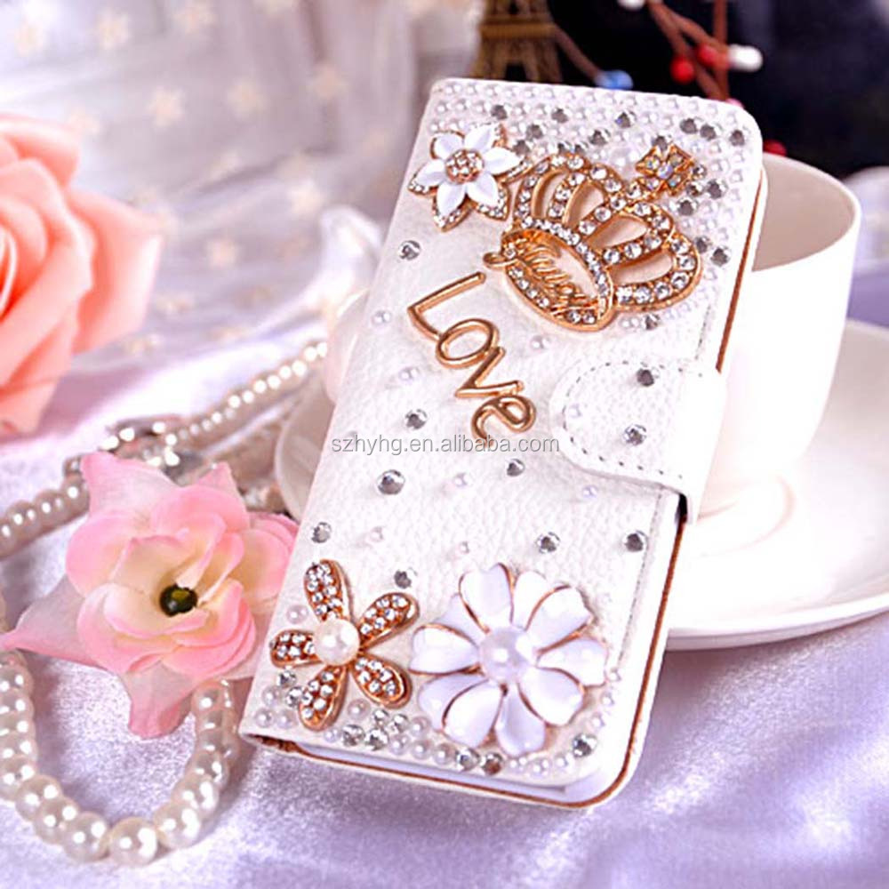 Bling Diamond Flower Wallet PU Leather Flip Case With Card Purse And Magnetic Button Cover For Samsung galaxy S3/S4 Mini