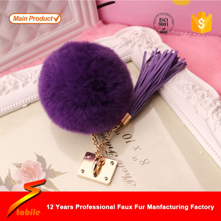 STABILE Customized animal pom pon fur ball key chain