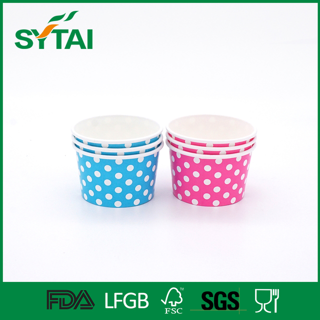 Various color wave point pattern biodegradable flexo printing ice cream bowl