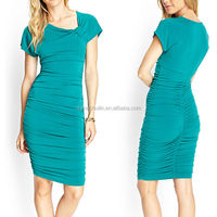 2014 korean fashion sexy ladies pleated emerald green evening bodycon dress